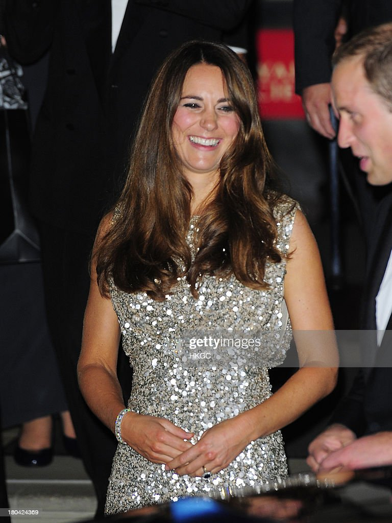 Prince William, Duke of Cambridge and Cathrine, Duchess of Cambridge leave The Royal Society after attending The Tusk Conservation Awards. on September 12, 2013 in London, England.