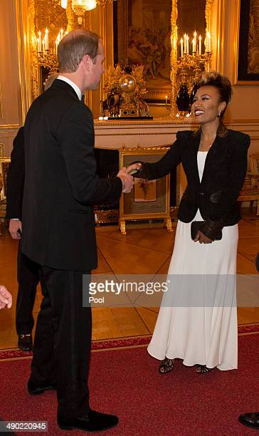 Prince William Duke of Cambridge and Emeli Sande attend a dinner to celebrate the work of The Royal Marsden hosted by the Duke of Cambridge on May 13...