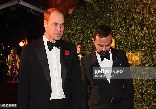 Prince William Duke of Cambridge and Evgeny Lebedev arrive at The 62nd London Evening Standard Theatre Awards recognising excellence from across the...