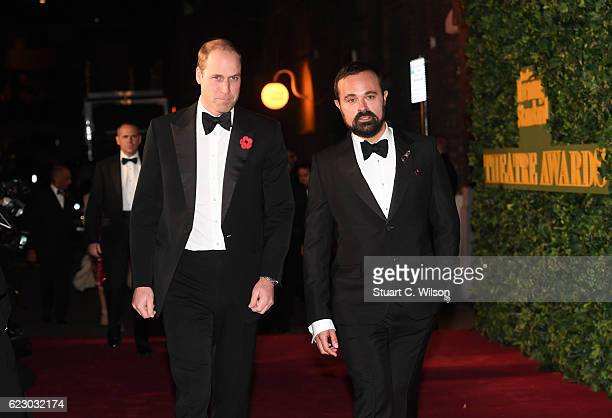 Prince William Duke of Cambridge and Evgeny Lebedev attend The London Evening Standard Theatre Awards at The Old Vic Theatre on November 13 2016 in...