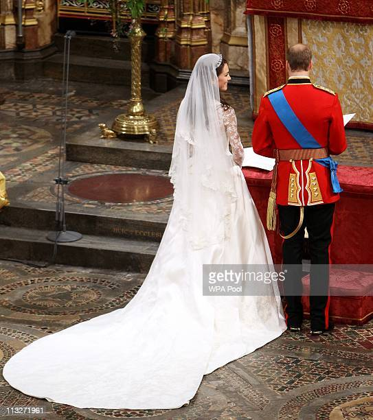 Prince William Duke of Cambridge and his new bride Catherine Duchess of Cambridge take part in the service on April 29 2011 in London England The...