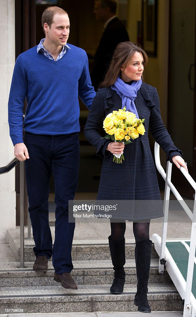 <a gi-track='captionPersonalityLinkClicked' href=/galleries/search?phrase=Prince+William&family=editorial&specificpeople=178205 ng-click='$event.stopPropagation()'>Prince William</a>, Duke of Cambridge and his pregnant wife <a gi-track='captionPersonalityLinkClicked' href=/galleries/search?phrase=Catherine+-+Duchess+of+Cambridge&family=editorial&specificpeople=542588 ng-click='$event.stopPropagation()'>Catherine</a>, Duchess of Cambridge leave the King Edward VII hospital where The Duchess was being treated for acute morning sickness (Hyperemesis Gravidarum) on December 06, 2012 in London, England.