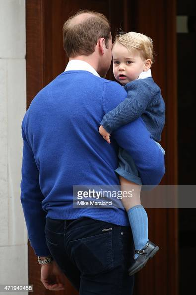 Prince William Duke of Cambridge and his son Prince George return to the Lindo Wing at St Mary's Hospital on May 2 2015 in London England The Duchess...