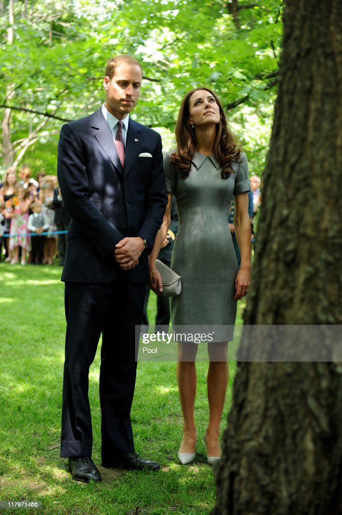 <a gi-track='captionPersonalityLinkClicked' href=/galleries/search?phrase=Prince+William&family=editorial&specificpeople=178205 ng-click='$event.stopPropagation()'>Prince William</a>, Duke of Cambridge and his wife Catherine, Duchess of Cambridge look at the tree planted by the Prince and the Princess of Wales in 1983 during Tree Planting Ceremony at Rideau Hall on july 02, 2011 in Ottawa, Canada. The tree that the Duke and Duchess help to plant will be next to the one planted by the Prince and the Princess of Wales in 1983. <a gi-track='captionPersonalityLinkClicked' href=/galleries/search?phrase=Prince+William&family=editorial&specificpeople=178205 ng-click='$event.stopPropagation()'>Prince William</a>, Duke of Cambridge and cCatherine, Duchess of Cambridge are on the third day of their first joint overseas tour. Ottawa is the start of a 12 day visit to North America which will take in some of the more remote areas of the country such as Prince Edward Island, Yellowknife and Calgary.