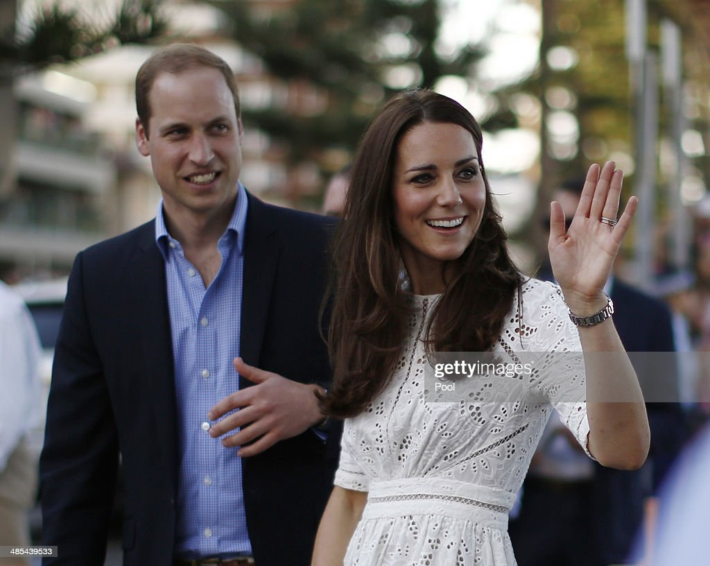 <a gi-track='captionPersonalityLinkClicked' href=/galleries/search?phrase=Prince+William&family=editorial&specificpeople=178205 ng-click='$event.stopPropagation()'>Prince William</a>, Duke of Cambridge and his wife <a gi-track='captionPersonalityLinkClicked' href=/galleries/search?phrase=Catherine+-+Duchess+of+Cambridge&family=editorial&specificpeople=542588 ng-click='$event.stopPropagation()'>Catherine</a>, Duchess of Cambridge are pictured during a surf lifesaving event on Manly Beach on April 18, 2014 in Sydney, Australia. The Duke and Duchess of Cambridge are on a three-week tour of Australia and New Zealand, the first official trip overseas with their son, Prince George of Cambridge.
