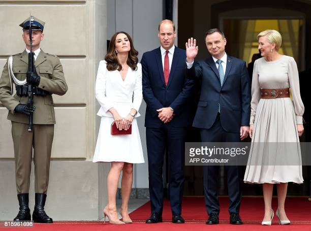 Prince William Duke of Cambridge and his wife Kate the Duchess of Cambridge stand next to Polish President Andrzej Duda and his wife Agata...