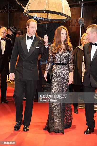 HRH Prince William Duke of Cambridge and HRH Catherine Duchess of Cambridge arrive at the UK Premiere of 'War Horse' at Odeon Leicester Square on...