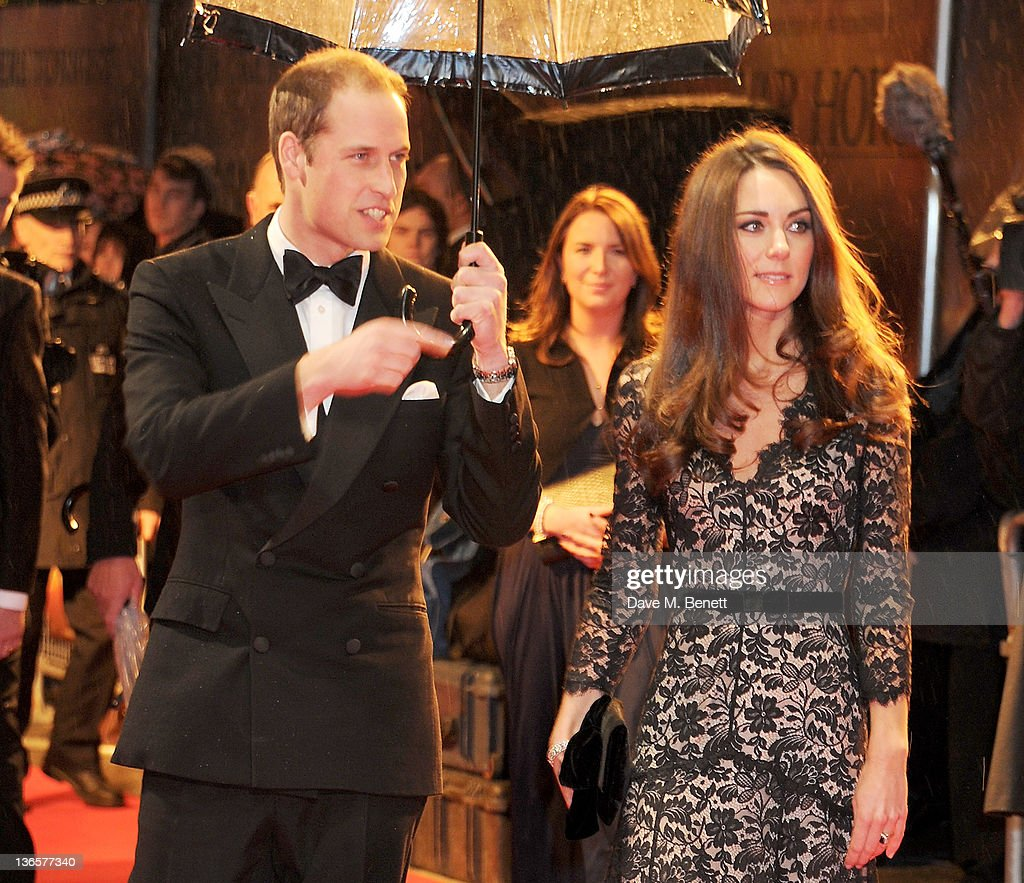 HRH <a gi-track='captionPersonalityLinkClicked' href=/galleries/search?phrase=Prince+William&family=editorial&specificpeople=178205 ng-click='$event.stopPropagation()'>Prince William</a>, Duke of Cambridge (L) and HRH Catherine, Duchess of Cambridge arrive at the UK Premiere of 'War Horse' at Odeon Leicester Square on January 8, 2012 in London, England.