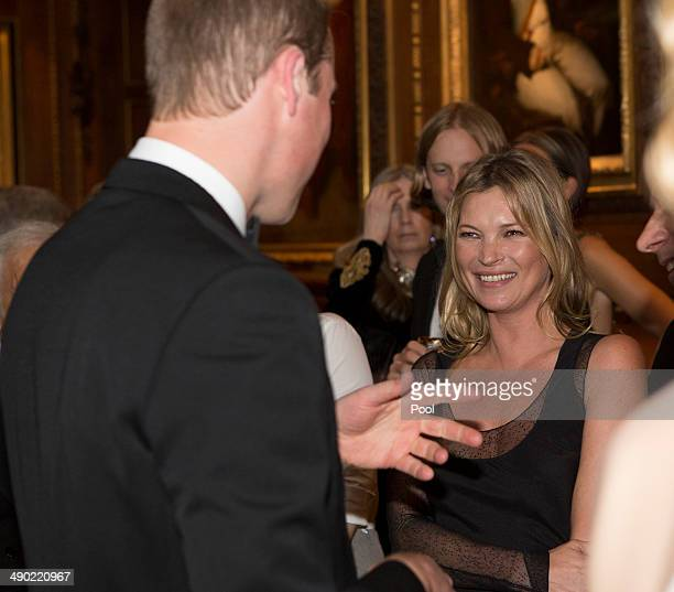 Prince William Duke of Cambridge and Kate Moss attend a dinner to celebrate the work of The Royal Marsden hosted by the Duke of Cambridge on May 13...