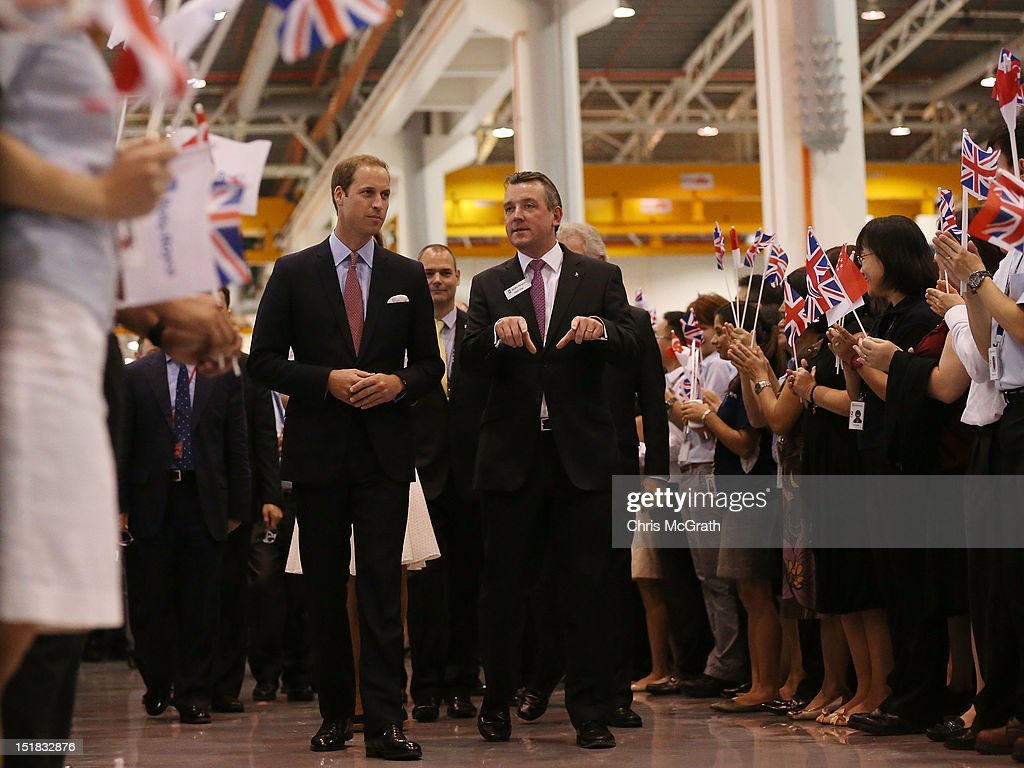<a gi-track='captionPersonalityLinkClicked' href=/galleries/search?phrase=Prince+William&family=editorial&specificpeople=178205 ng-click='$event.stopPropagation()'>Prince William</a>, Duke of Cambridge and Mark King, President Rolls-Royce chat while touring the Rolls-Royce Seletar Campus during the Diamond Jubilee tour on September 12, 2012 at Seletar Aerospace Park in Singapore.