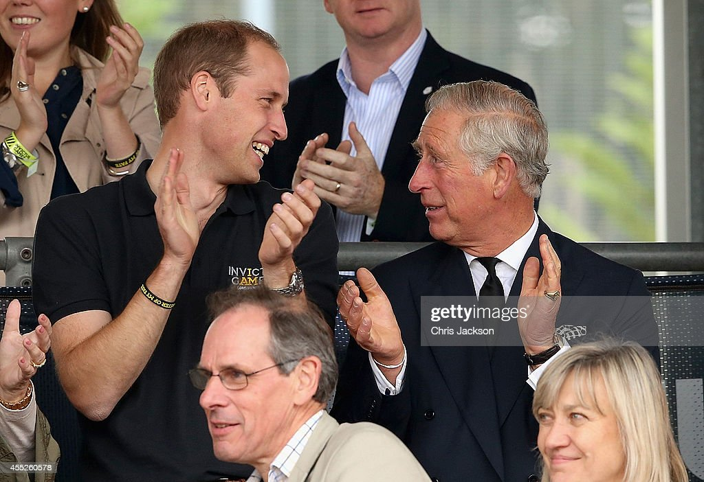 Prince William, Duke of Cambridge and Prince Charles, Prince of Wales watch the athletes during the Invictus Games athletics at Lee Valley on September 11, 2014 in London, England. The International sports event for 'wounded warriors', presented by Jaguar Land Rover, is just days away with limited last-minute tickets available at www.invictusgames.org