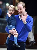 Prince William Duke of Cambridge and Prince George arrive at the Lindo Wing at St Mary's Hospital on May 02 2015 in London England The Duchess of...
