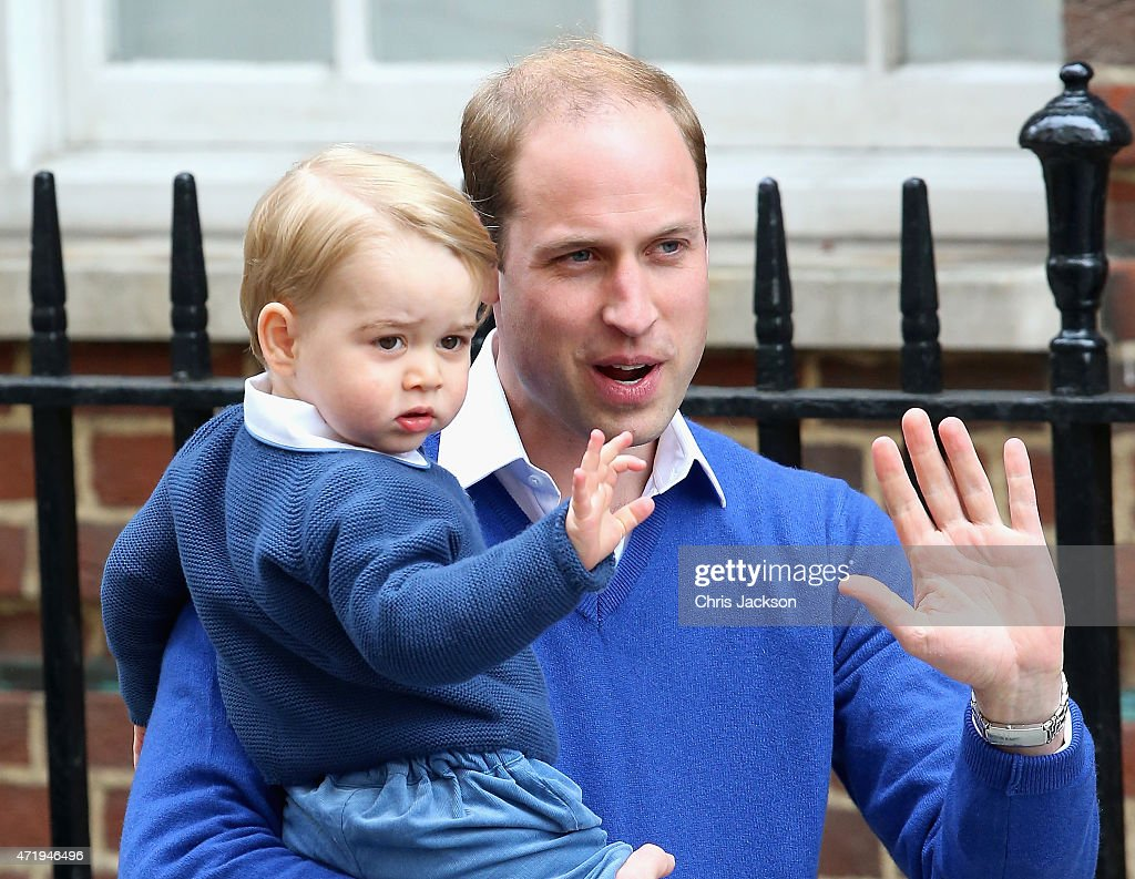 <a gi-track='captionPersonalityLinkClicked' href=/galleries/search?phrase=Prince+William&family=editorial&specificpeople=178205 ng-click='$event.stopPropagation()'>Prince William</a>, Duke of Cambridge and <a gi-track='captionPersonalityLinkClicked' href=/galleries/search?phrase=Prince+George+of+Cambridge&family=editorial&specificpeople=11176510 ng-click='$event.stopPropagation()'>Prince George of Cambridge</a> arrive at the Lindo Wing after Catherine, Duchess of Cambridge gave birth to a baby girl at St Mary's Hospital on May 2, 2015 in London, England.