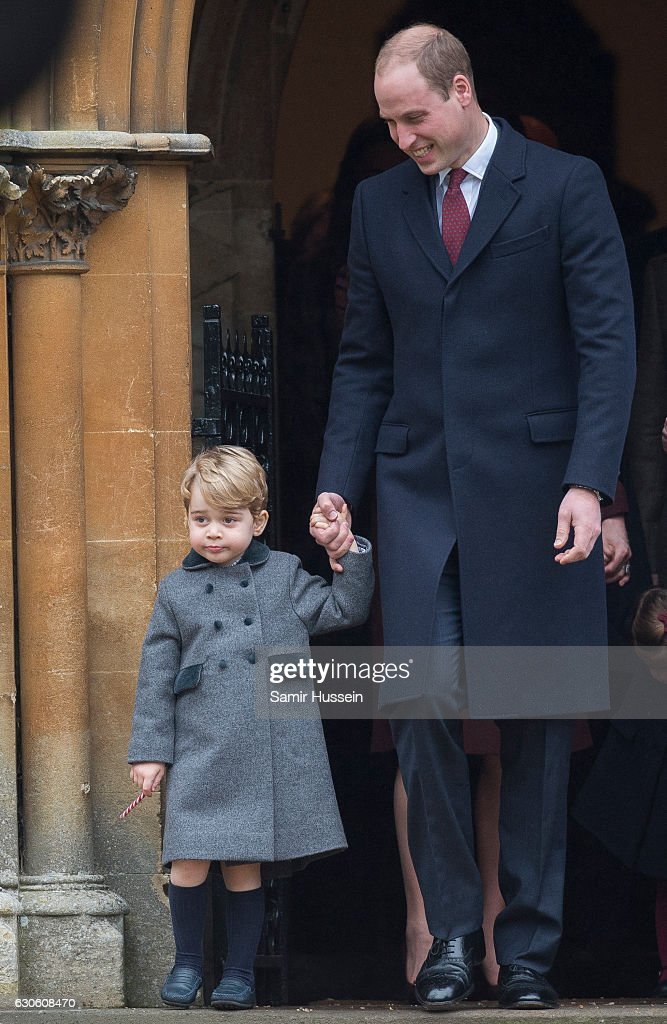 Prince William, Duke of Cambridge and Prince George of Cambridge attend Church on Christmas Day on December 25, 2016 in Bucklebury, Berkshire.