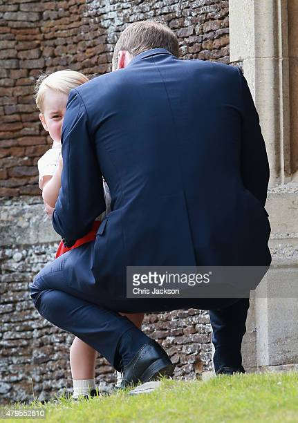 Prince William Duke of Cambridge and Prince George of Cambridge outside the Church of St Mary Magdalene on the Sandringham Estate for the Christening...