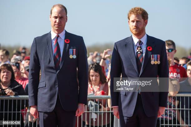 Prince William Duke of Cambridge and Prince Harry arrive at the Canadian National Vimy Memorial on April 9 2017 in Vimy France The Prince of Wales...