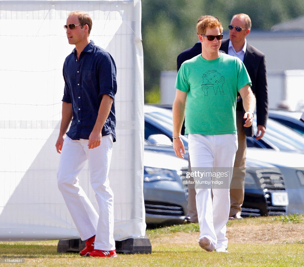 Prince William, Duke of Cambridge and Prince Harry arrive to play in the Audi Polo Challenge at Coworth Park Polo Club on August 3, 2013 in Ascot, England.