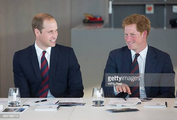 Prince William Duke of Cambridge and Prince Harry attend a Business Leaders Employment meeting hosted by the Royal Foundation of the Duke and Duchess...