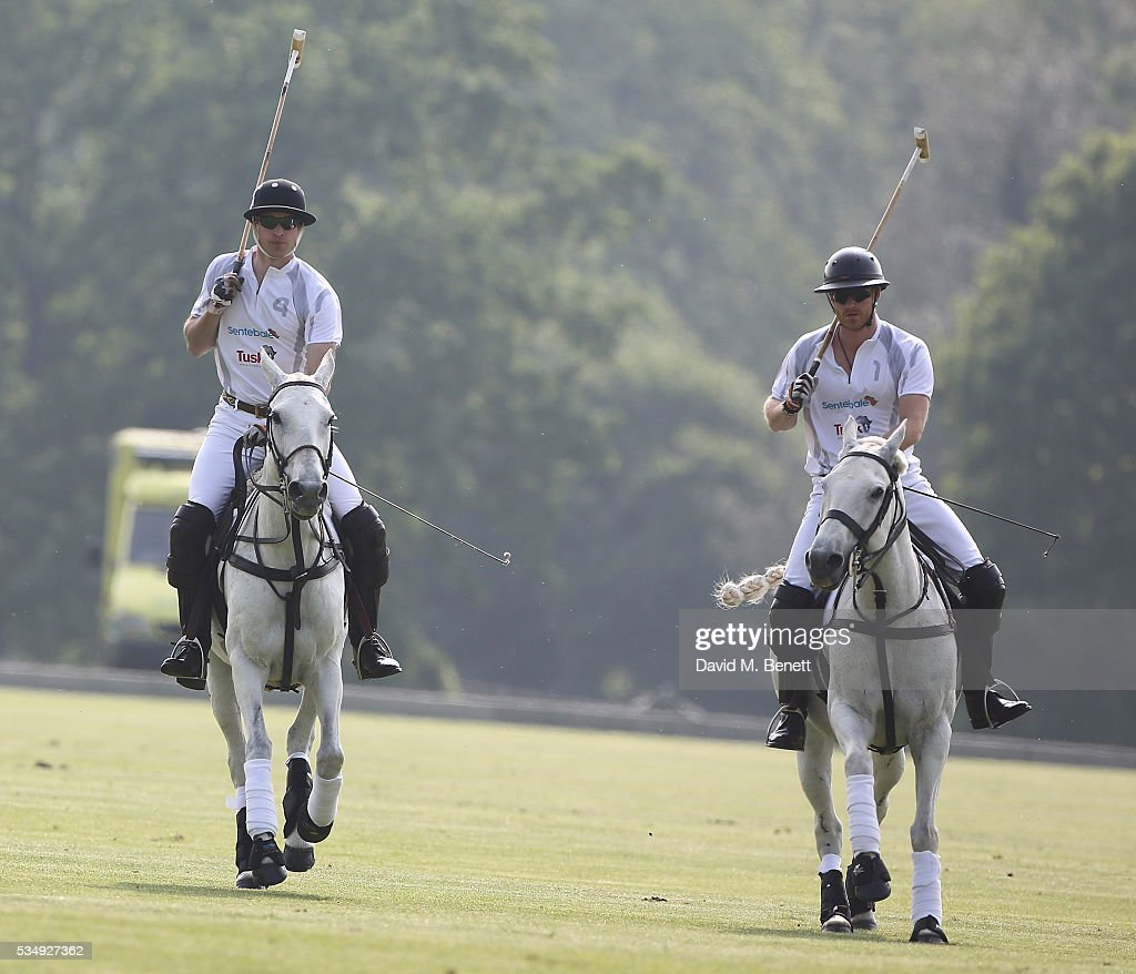 Prince William, Duke of Cambridge and Prince Harry attend day one of the Audi Polo Challenge at Coworth Park on May 28, 2016 in London, England.