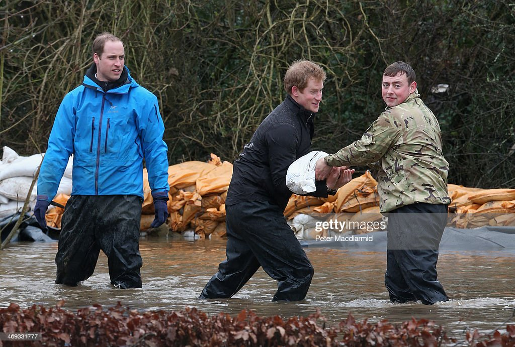 <a gi-track='captionPersonalityLinkClicked' href=/galleries/search?phrase=Prince+William&family=editorial&specificpeople=178205 ng-click='$event.stopPropagation()'>Prince William</a>, Duke of Cambridge and <a gi-track='captionPersonalityLinkClicked' href=/galleries/search?phrase=Prince+Harry&family=editorial&specificpeople=178173 ng-click='$event.stopPropagation()'>Prince Harry</a> help with flood defences around Eton End School on February 14, 2014 in Datchet, United Kingdom. Flood water has remained high in some areas and high winds are causing disruption to other parts of the UK with the Met Office issuing a red weather warning.