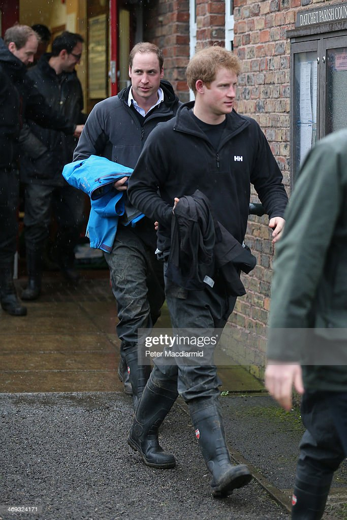 <a gi-track='captionPersonalityLinkClicked' href=/galleries/search?phrase=Prince+William&family=editorial&specificpeople=178205 ng-click='$event.stopPropagation()'>Prince William</a>, Duke of Cambridge and <a gi-track='captionPersonalityLinkClicked' href=/galleries/search?phrase=Prince+Harry&family=editorial&specificpeople=178173 ng-click='$event.stopPropagation()'>Prince Harry</a> leave a temporary military base on February 14, 2014 in Datchet, United Kingdom. Flood water has remained high in some areas and high winds are causing disruption to other parts of the UK with the Met Office issuing a red weather warning.