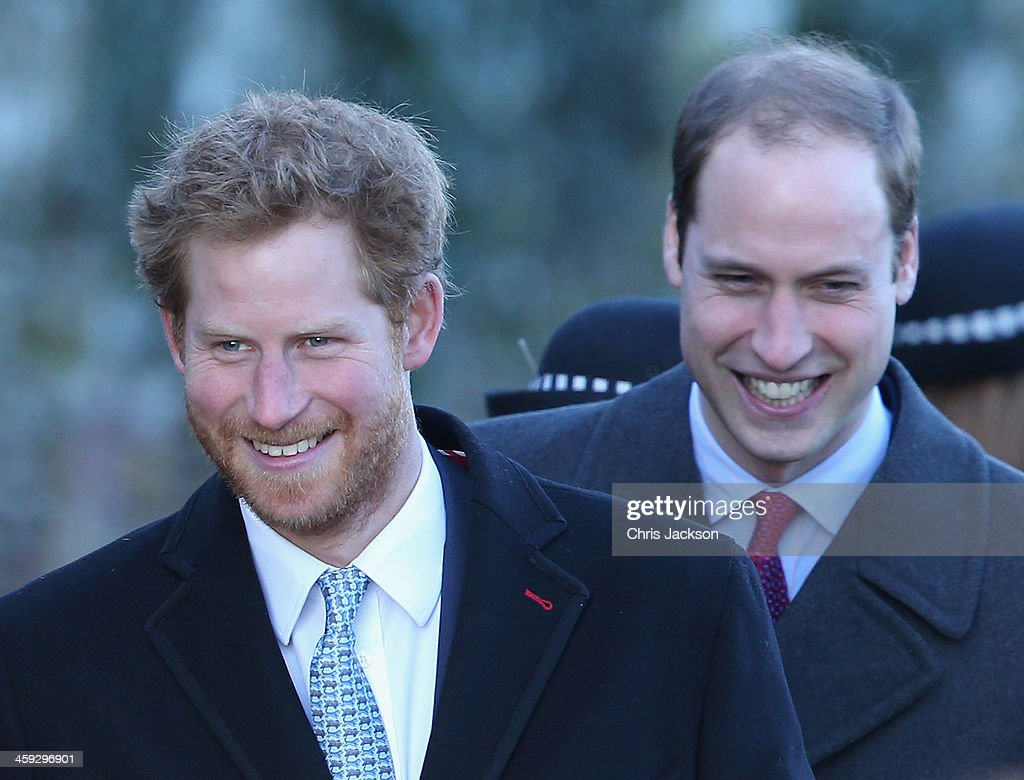 Prince William, Duke of Cambridge and <a gi-track='captionPersonalityLinkClicked' href=/galleries/search?phrase=Prince+Harry&family=editorial&specificpeople=178173 ng-click='$event.stopPropagation()'>Prince Harry</a> leave the Christmas Day service at Sandringham on December 25, 2013 in King's Lynn, England.