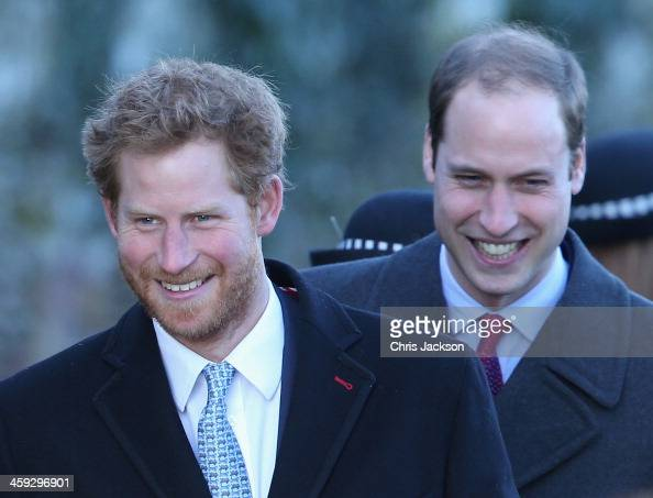 Prince William Duke of Cambridge and Prince Harry leave the Christmas Day service at Sandringham on December 25 2013 in King's Lynn England