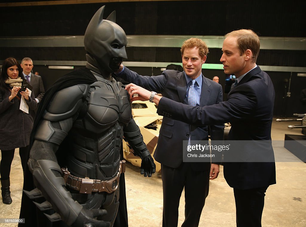 <a gi-track='captionPersonalityLinkClicked' href=/galleries/search?phrase=Prince+William&family=editorial&specificpeople=178205 ng-click='$event.stopPropagation()'>Prince William</a>, Duke of Cambridge and <a gi-track='captionPersonalityLinkClicked' href=/galleries/search?phrase=Prince+Harry&family=editorial&specificpeople=178173 ng-click='$event.stopPropagation()'>Prince Harry</a> look at a 'Batsuit' which was used in the Batman films during the Inauguration Of Warner Bros. Studios Leavesden on April 26, 2013 in London, England.