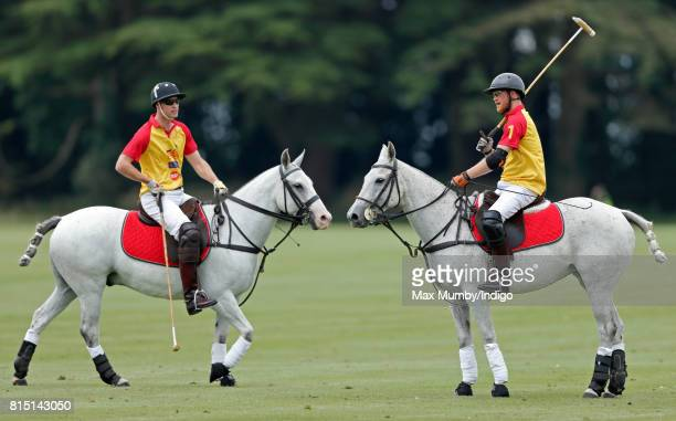 Prince William Duke of Cambridge and Prince Harry play in the Jerudong Park Trophy charity polo match at Cirencester Park Polo Club on July 15 2017...