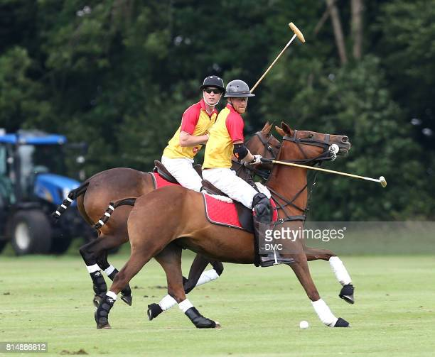 Prince William Duke of Cambridge and Prince Harry play polo during The Jerudong Park Trophy at Cirencester Park Polo Club on July 15 2017 in...