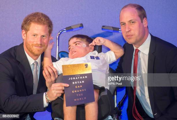 Prince William Duke of Cambridge and Prince Harry present an award to 11 yr old Jonathan Ryan at the Diana Award's at St James' Palace on May 18 2017...