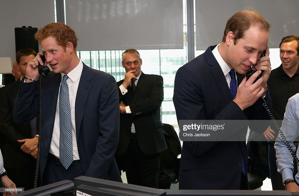 Prince William, Duke of Cambridge and <a gi-track='captionPersonalityLinkClicked' href=/galleries/search?phrase=Prince+Harry&family=editorial&specificpeople=178173 ng-click='$event.stopPropagation()'>Prince Harry</a> take part in a trade on at the BGC Partners trading floor during the BGC Charity Day 2013 at Canary Wharf on September 11, 2013 in London, England. The event is in memory of those who died in the World Trade Centre attacks and supports a number of UK charities. Prince William, Duke of Cambridge and <a gi-track='captionPersonalityLinkClicked' href=/galleries/search?phrase=Prince+Harry&family=editorial&specificpeople=178173 ng-click='$event.stopPropagation()'>Prince Harry</a> were involved in a number of multi billion Euro trades during the morning.