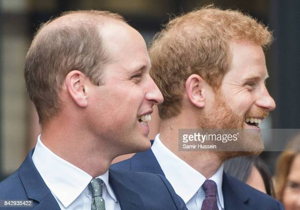 Prince William Duke of Cambridge and Prince Harry visit to the newly established Royal Foundation Support4Grenfell community hub on September 5 2017...