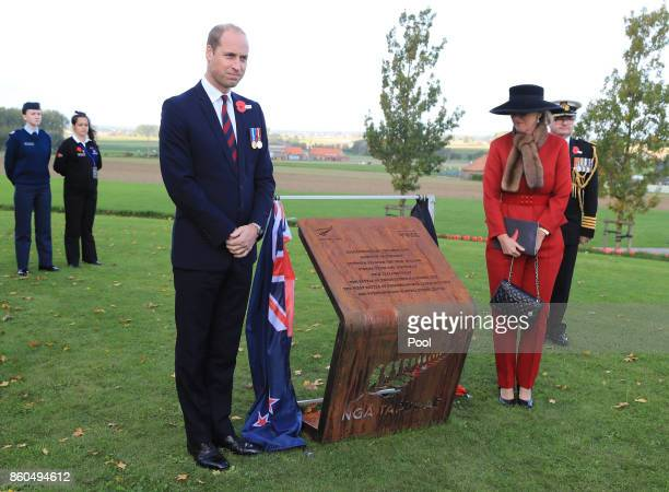 Prince William Duke of Cambridge and Princess Astrid of Belgium unveil a commemorative plaque as they attend the New Zealand national commemoration...