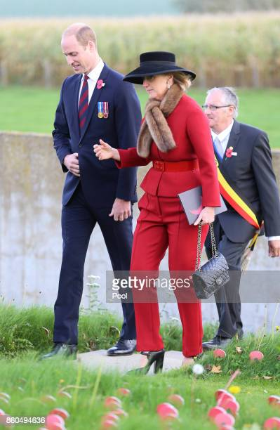Prince William Duke of Cambridge and Princess Astrid of Belgium attends the New Zealand national commemoration for the Battle of Passchendaele at...