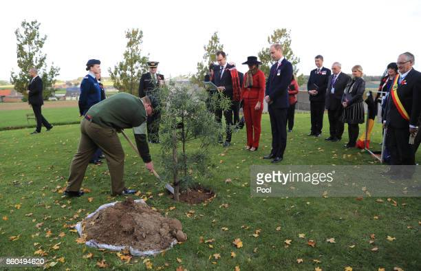 Prince William Duke of Cambridge and Princess Astrid of Belgium watch a tree being planted as they attend the New Zealand national commemoration for...