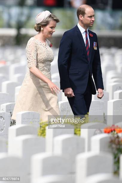 Prince William Duke of Cambridge and Queen Mathilde of Belgium arrive at the Commonwealth War Graves Commisions's Tyne Cot Cemetery ahead of a...
