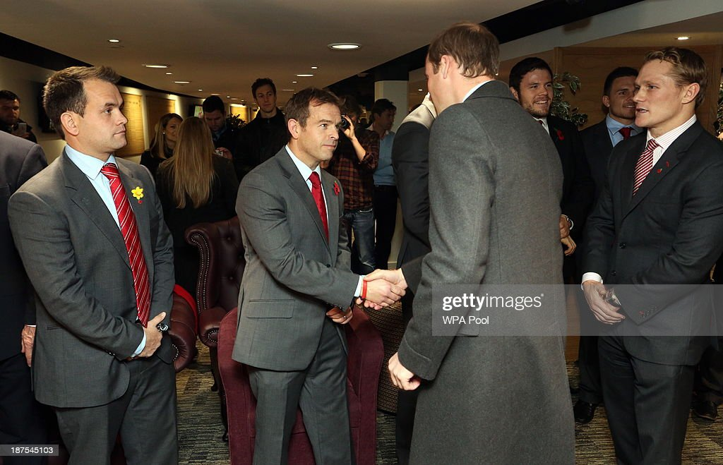 Prince William, Duke of Cambridge (2nd R) and vice-patron of the Welsh Rugby Union meets (L-R) WRU Women's rugby coach Rhys Edwards, former Wales U20s head coach Danny Wilson and WRU Head of Rugby Josh Lewsey in the International Player's Lounge after the Autumn International between Wales and South Africa at the Millennium Stadium on November 9, 2013 in Cardiff, Wales.