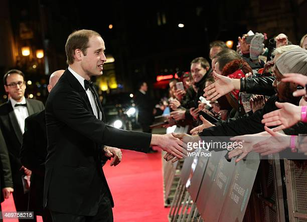 Prince William Duke of Cambridge arrives at the EE British Academy Film Awards 2014 at The Royal Opera House on February 16 2014 in London England