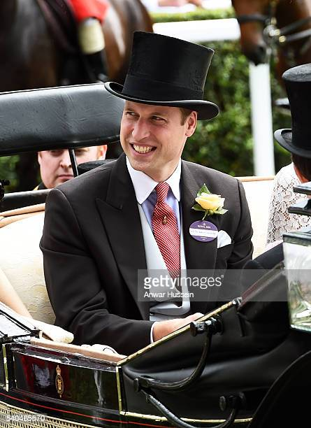 Prince William Duke of Cambridge arrives in an open carriage to attend Day 2 of Royal Ascot on June 15 2016 in Ascot England