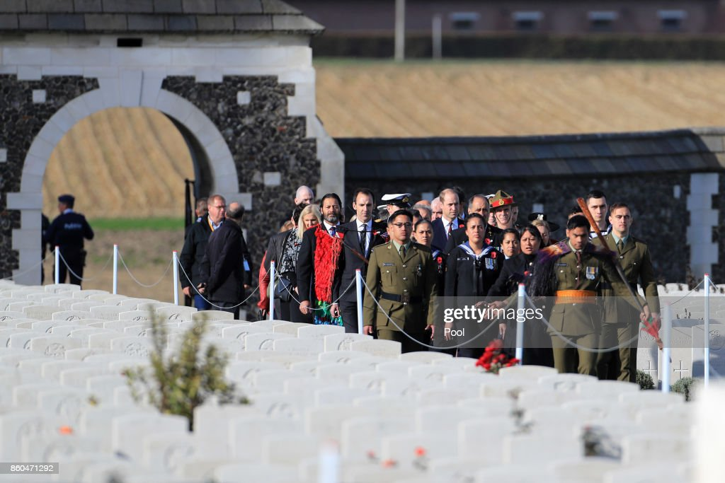 Prince William, Duke of Cambridge arrives to attend the New Zealand national commemoration for the Battle of Passchendaele at Tyne Cot Cemetery on October 12, 2017 in Flanders, Belgium.