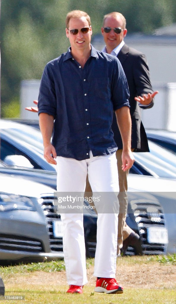 Prince William, Duke of Cambridge arrives to play in the Audi Polo Challenge at Coworth Park Polo Club on August 3, 2013 in Ascot, England.