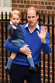 Prince William Duke of Cambridge arrives with his son Prince George to the Lindo Wing of St Mary's Hospital on May 2 2015 in London England