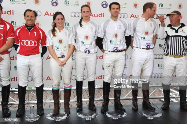 Prince William Duke of Cambridge at the presentation ceremony at the Audi Royal Polo Challenge 2013 at Chester Racecourse on May 29 2013 in Chester...
