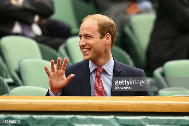 Prince William Duke of Cambridge attend day nine of the Wimbledon Lawn Tennis Championships at the All England Lawn Tennis and Croquet Club on July 8...