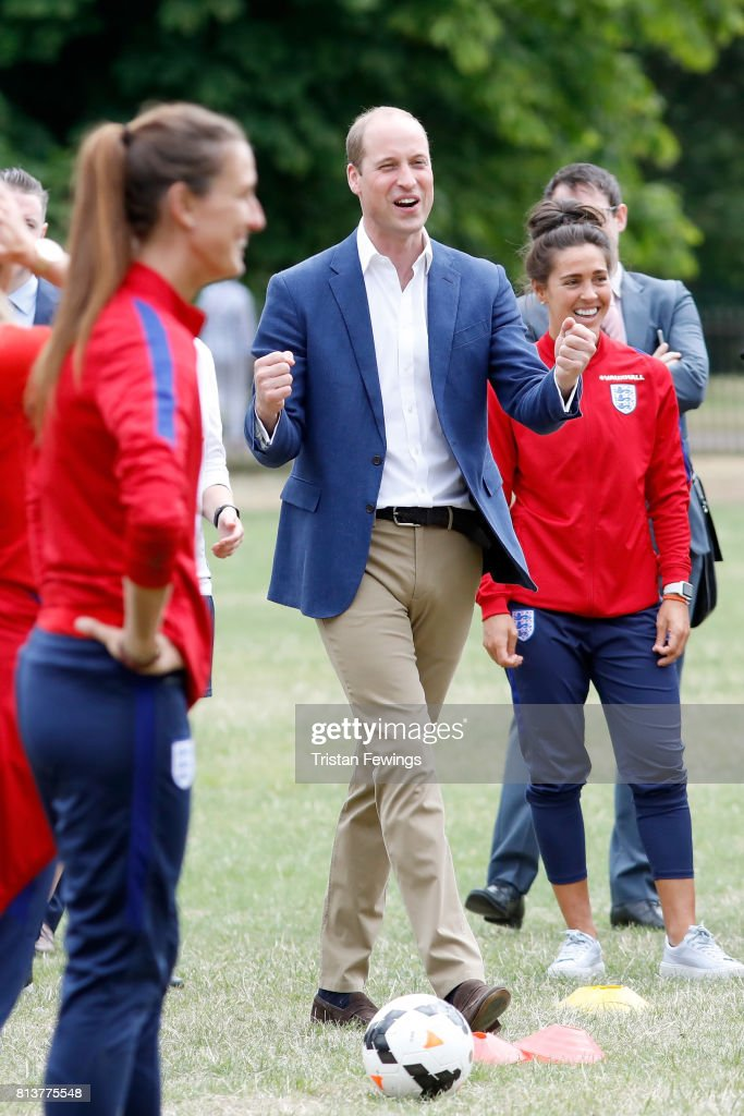 Prince William, Duke of Cambridge attends a kick-about with the Lionesses and local girls team from the Wildcats Girl' Football programme on July 13, 2017 in London, England.