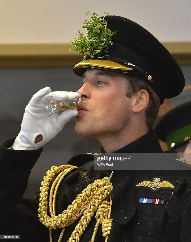 Prince William, Duke of Cambridge attends a St Patrick's Day parade by the 1st Battalion Irish Guards as they visit Aldershot Barracks on St Patrick's Day on March 17, 2013 in Aldershot, England.