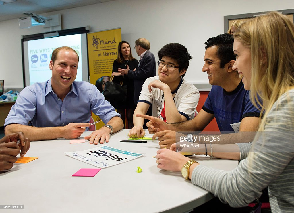 Prince William, Duke of Cambridge attends an event hosted by Mind, at Harrow College to mark World Mental Health Day on October 10, 2015 in Harrow, England.