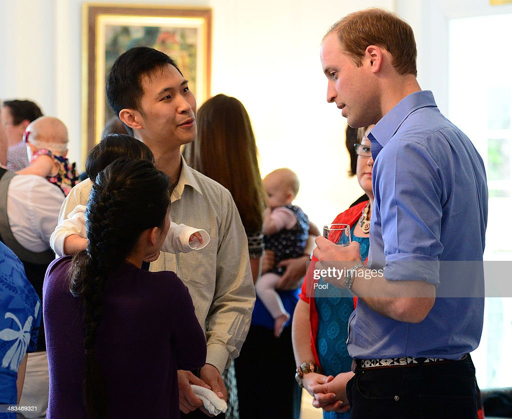 Prince William, Duke of Cambridge attends Plunkett's Parent's Group at Government House on April 9, 2014 in Wellington, New Zealand. The Duke and Duchess of Cambridge are on a three-week tour of Australia and New Zealand, the first official trip overseas with their son, Prince George of Cambridge.