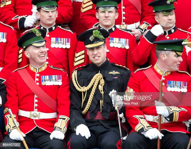 Prince William Duke Of Cambridge attends the annual Irish Guards St Patrick's Day Parade at Household Cavalry Barracks on March 17 2017 in London...
